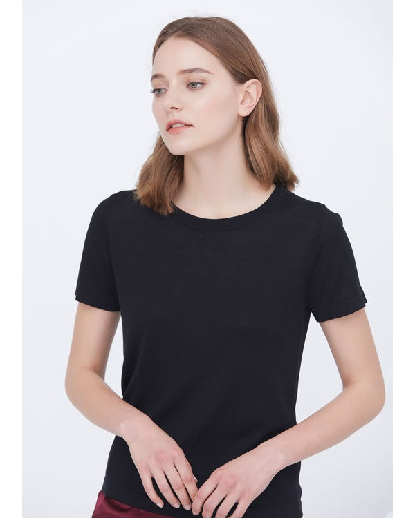 Soft Pure Silk Knitted T-shirt Black S
