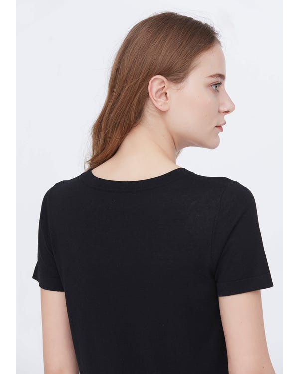Soft Pure Silk Knitted T-shirt Black S-hover