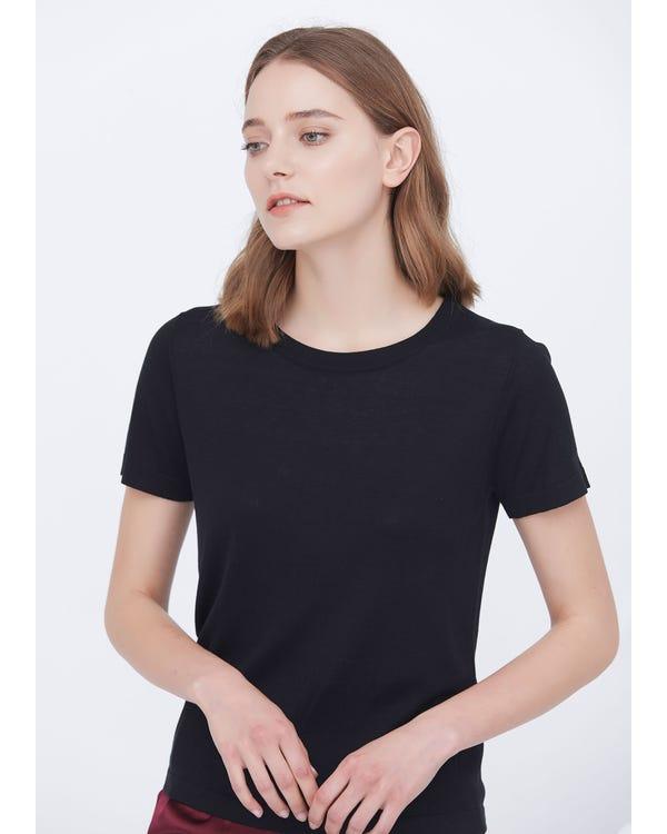 Weiche reine Seide Gestricktes T-Shirt