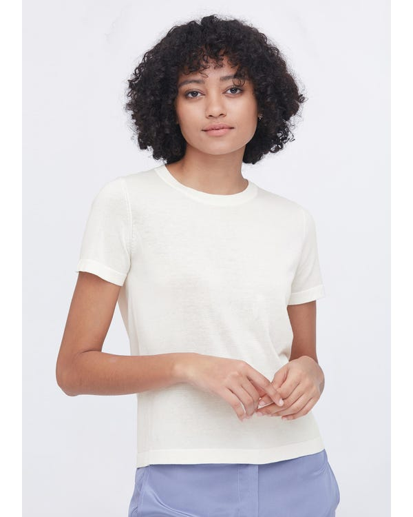 Soft Pure Silk Knitted T-shirt White M