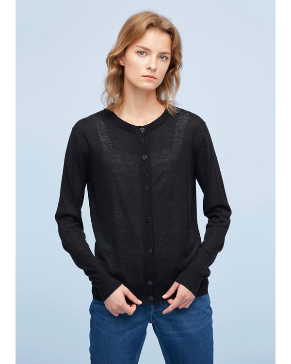 Breathable Silk Knitted Cardigan Black S