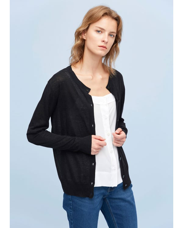 Breathable Silk Knitted Cardigan Black S-hover