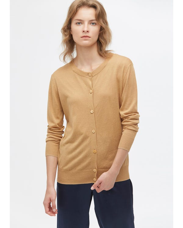 Breathable Silk Knitted Cardigan Camel S