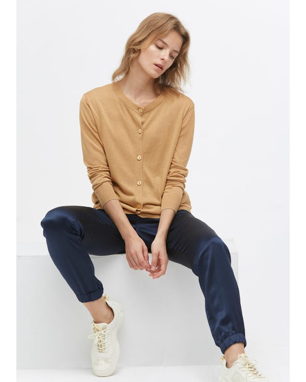 Breathable Silk Knitted Cardigan Camel S-hover