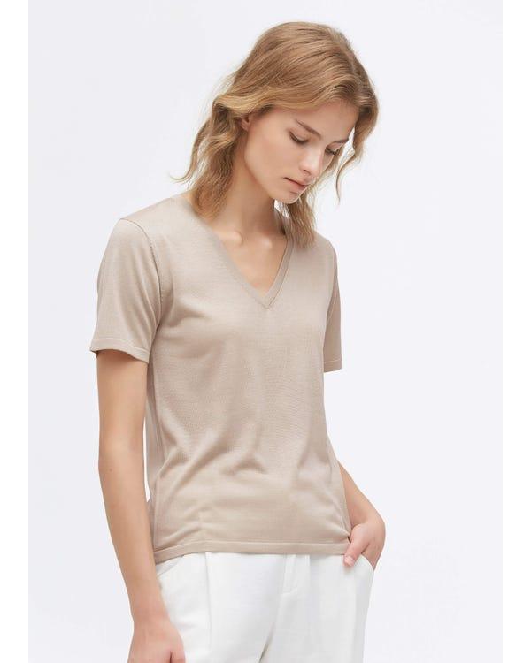 Slim Fit V Neck Silk Knitted T-Shirt Greige M