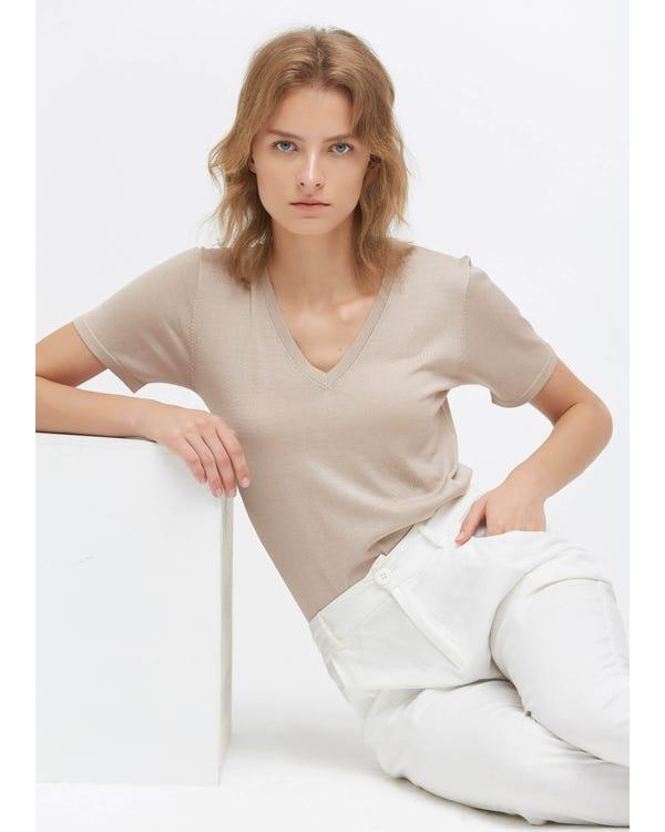 Slim Fit V Neck Silk Knitted T-Shirt Greige M-hover