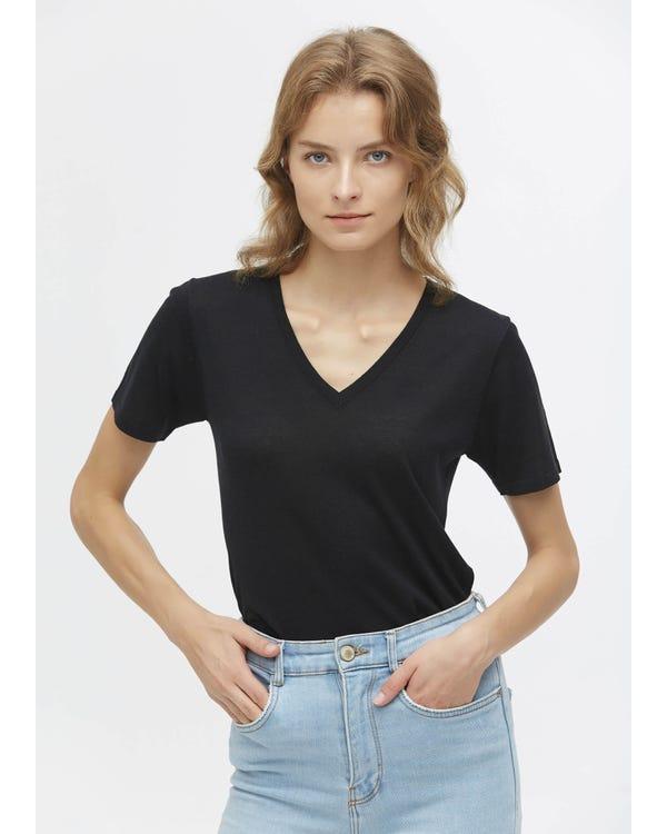 Smal Aansluitend Zijden Gebreid T-shirt Met V-hals