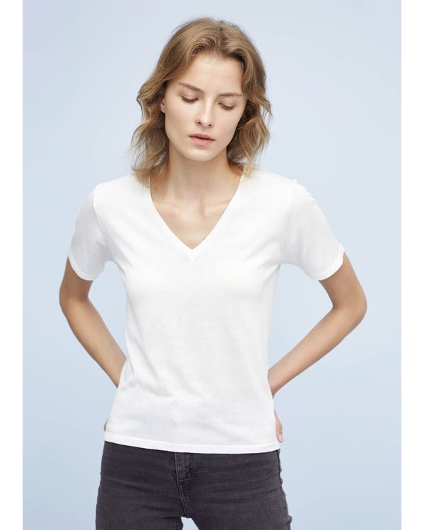 Slim Fit V Neck Silk Knitted T-Shirt White XS