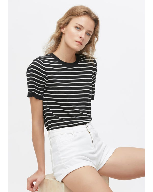Crewneck Short-Sleeve Silk Striped Knitted T-Shirt Black-With-White-Stripes S