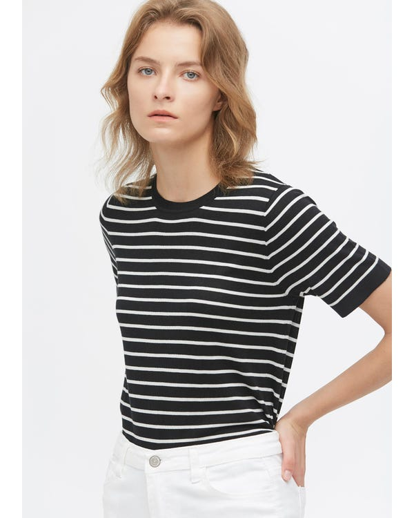 Crewneck Short-Sleeve Silk Striped Knitted T-Shirt Black-With-White-Stripes S-hover