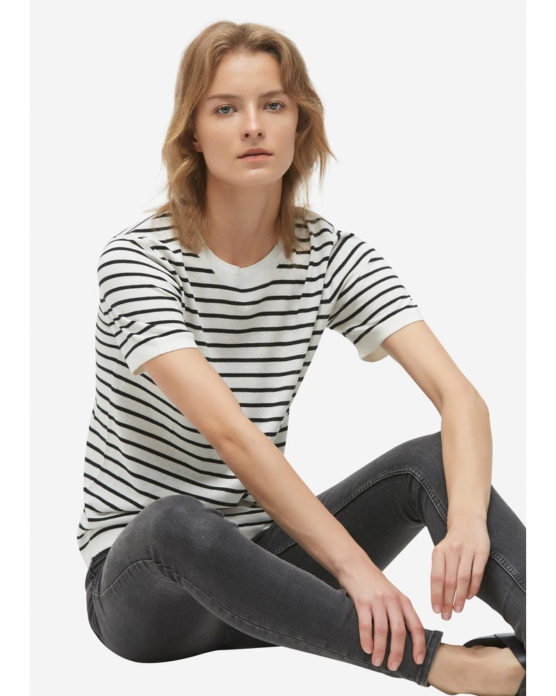 Crewneck Short-Sleeve Silk Striped Knitted T-Shirt