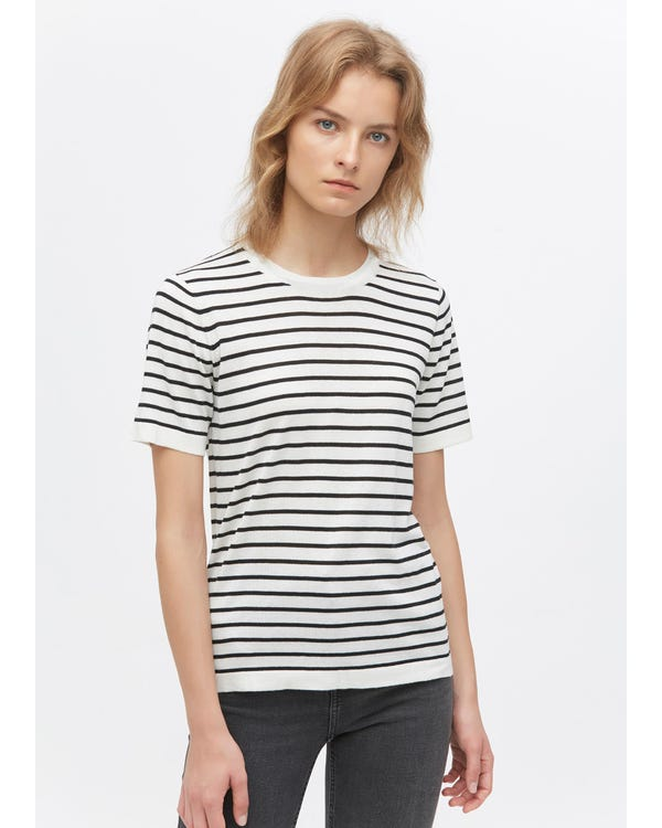Crewneck Short-Sleeve Silk Striped Knitted T-Shirt