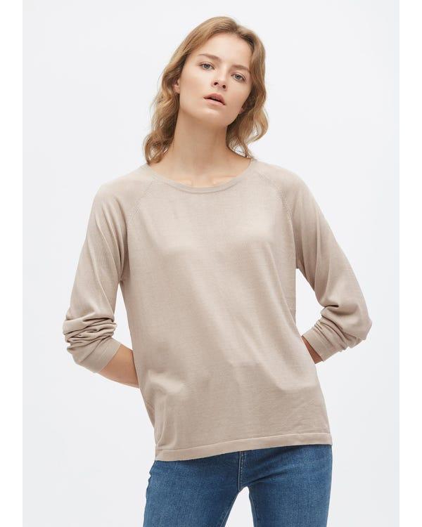 Rundhals Lange Seide Strick T-Shirt Greige L