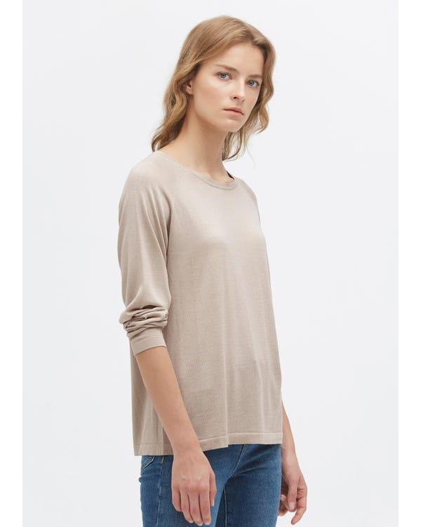 Rundhals Lange Seide Strick T-Shirt Greige L-hover