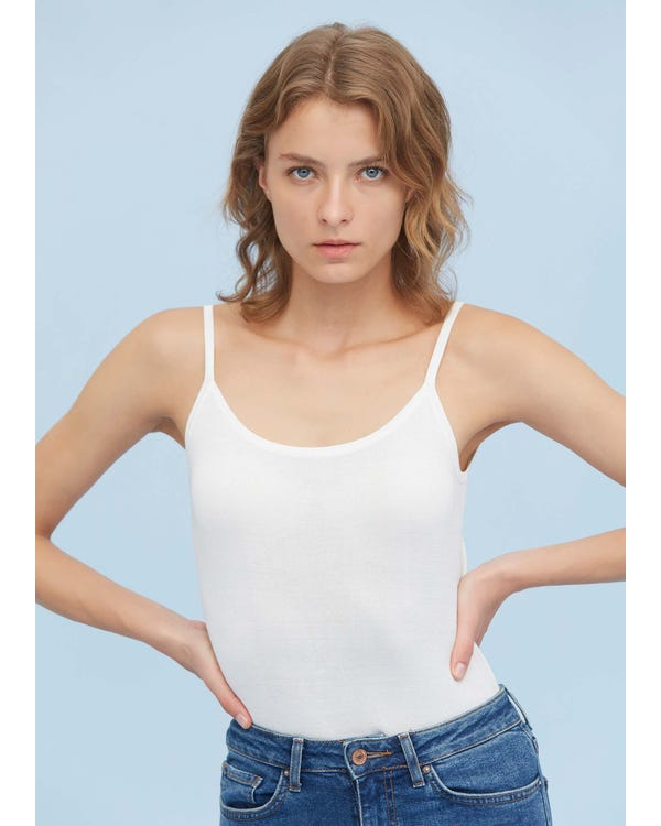 Classic Daily Silk Knitted Camisole White S
