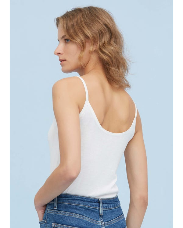 Classic Daily Silk Knitted Camisole White S-hover