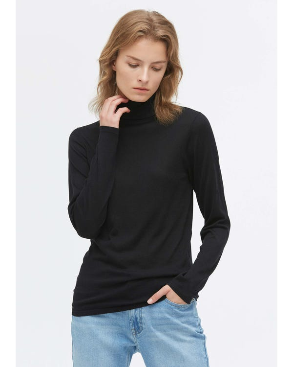 Elegant Turtle Neck Silk Knitted T-Shirt Black XL