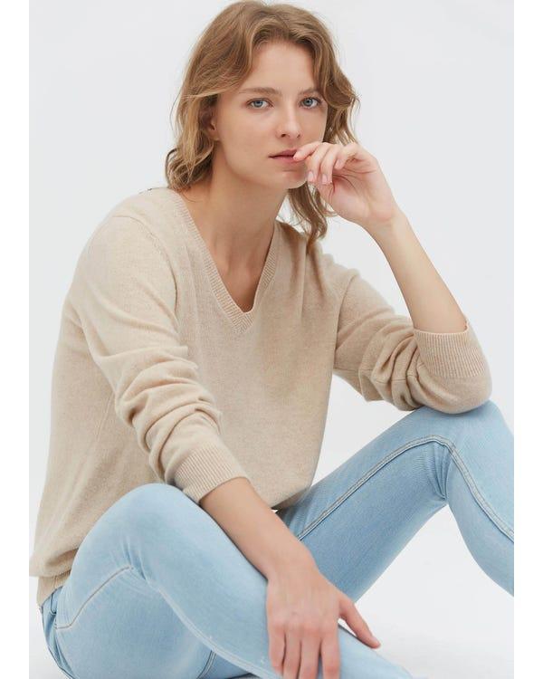 Women's Cashmere V Neck Sweater Greige M