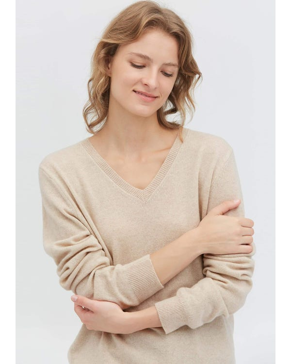 Women's Cashmere V Neck Sweater Greige S-hover