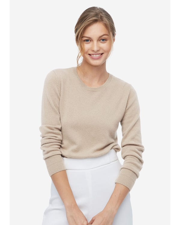 Soft Pure Silk Knitted T-shirt Greige S