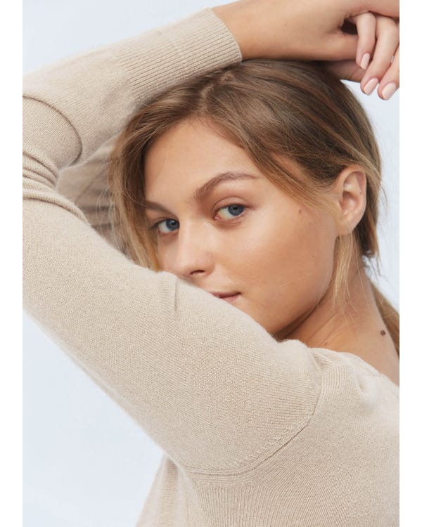 Soft Pure Silk Knitted T-shirt Greige S-hover