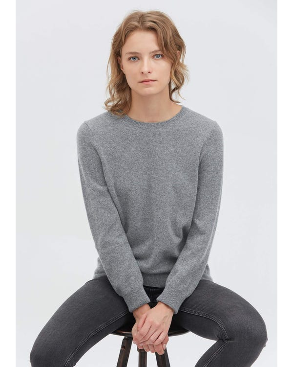 Round Neck Solid Color Sweater Light Gray M-hover