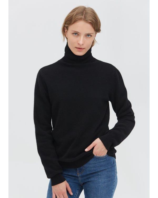 Pure Cashmere Turtleneck Sweater Black S
