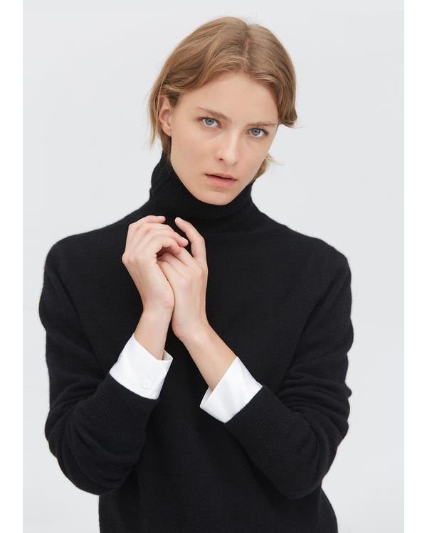 Pure Cashmere Turtleneck Sweater Black M-hover