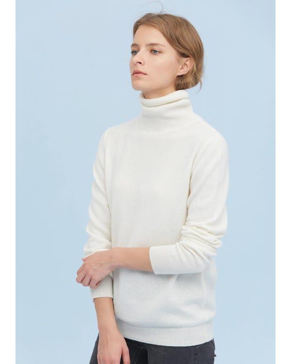 Rollkragenpullover aus reinem Kaschmir White XL