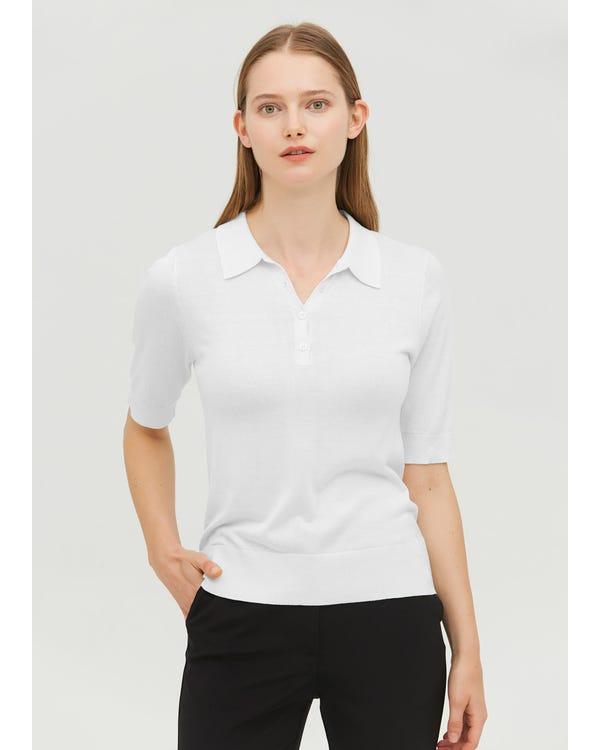 Elegant Silk Knitted Polo Shirt White M