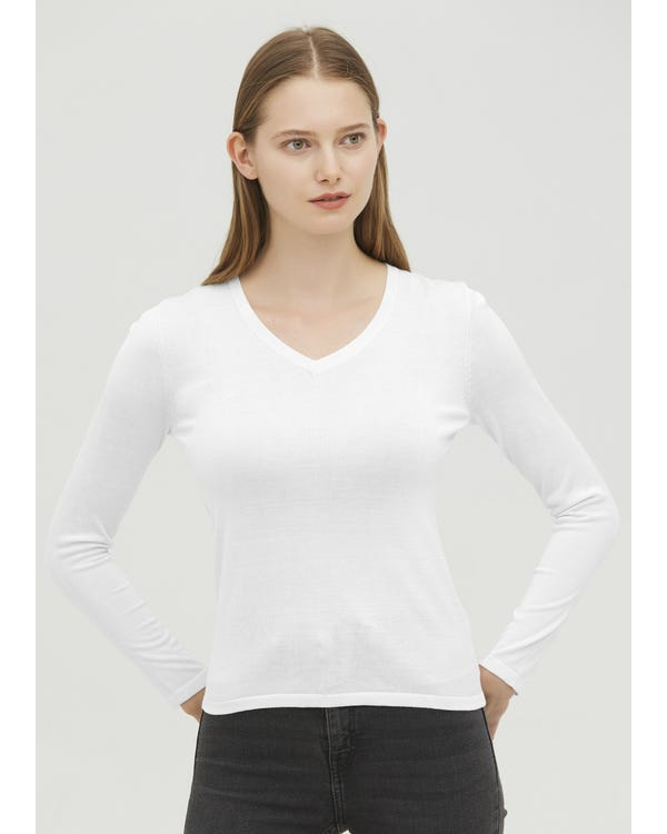 Basic V-Neck Silk Jersey T-shirt White XL