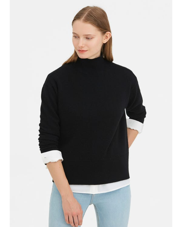 Warm Turtleneck Knit Wool Sweater