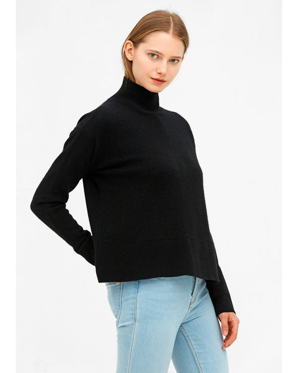 Warm Turtleneck Knit Wool Sweater-hover