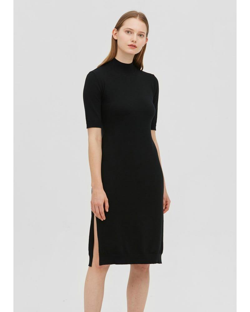 Half Turtleneck Knit Maxi Silk Blended Dress