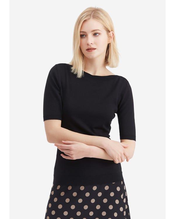 Versatile Boat Neckline Silk Knitted T-shirt Black M