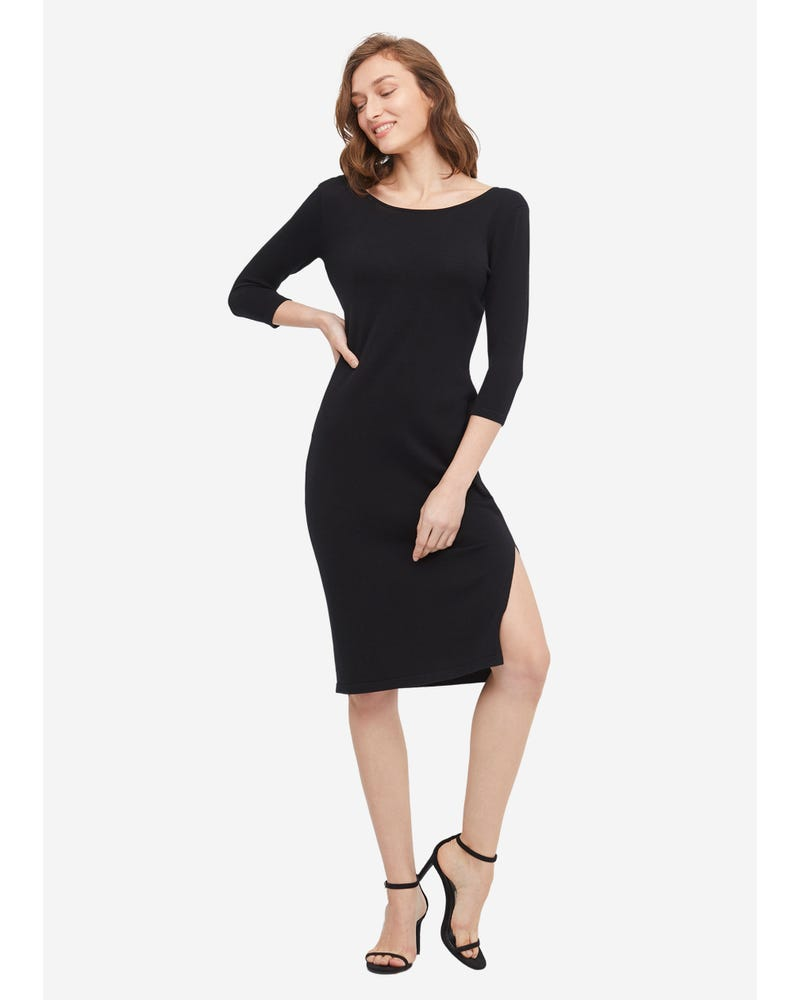 Alluring U shaped Back Silk Sweater Dress