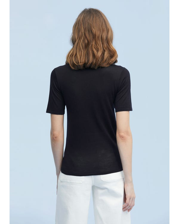 Basic U Neck Silk Knit T-shirt-hover