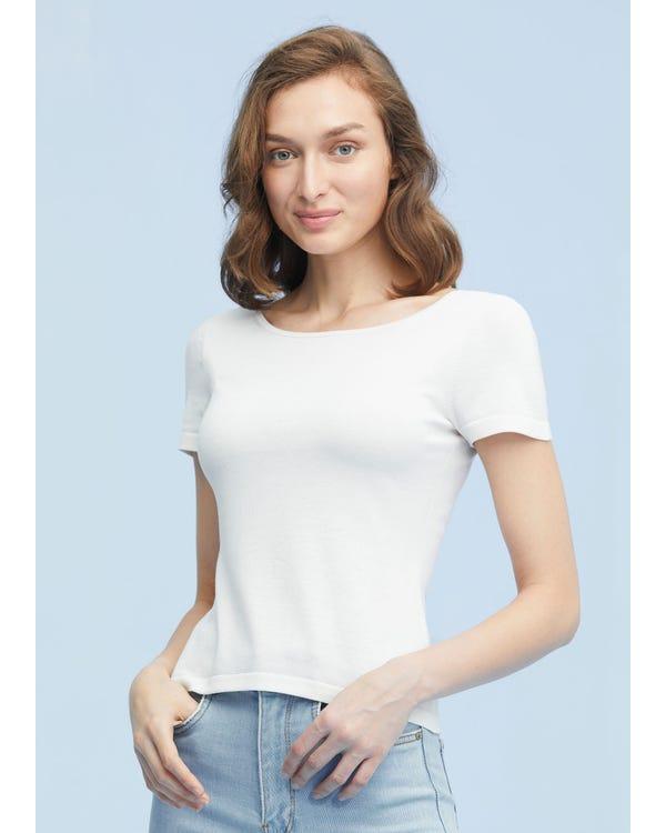 Elegant Front Back Reversible Silk Knit T-shirt