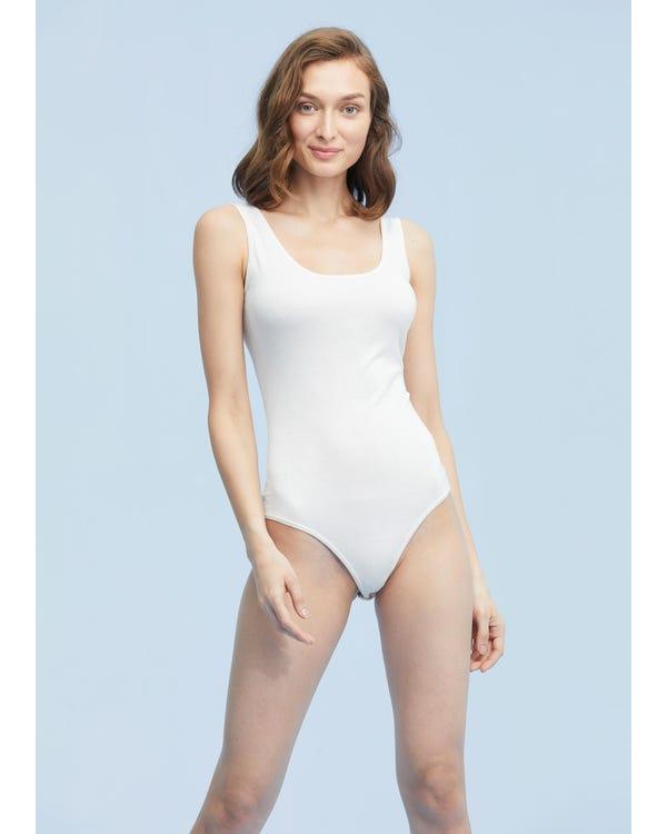 Womens Silk Knit Bodysuit Camisole White M