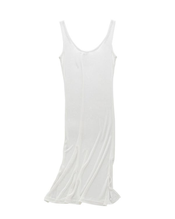 Elegant Silk Knitted Slip Dress White M