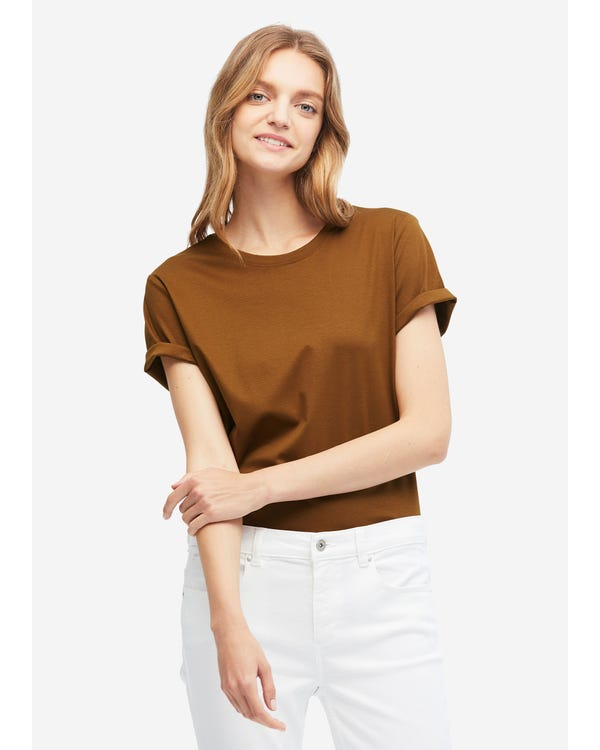 Basic Silk Cotton Blend T-shirts Burnt-Umber S
