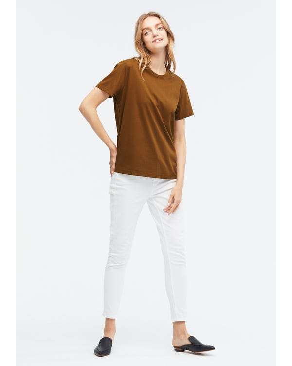 Basic Silk Cotton Blend T-shirts Burnt-Umber S-hover