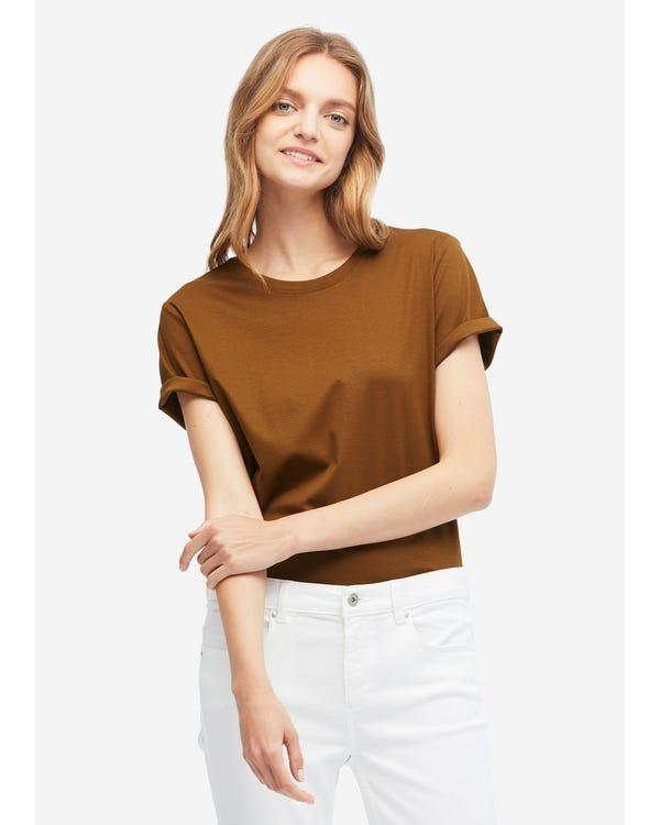 T-shirt basic in misto cotone e seta