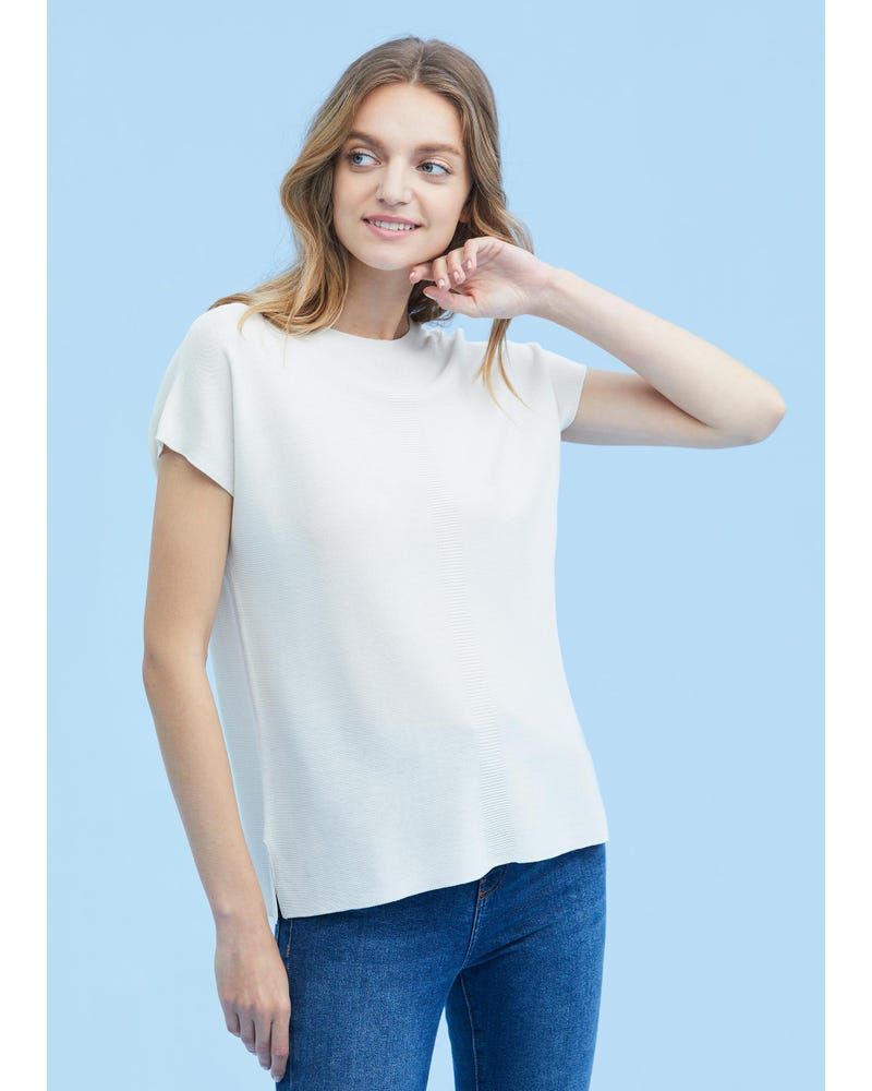 Breathable Round Neck Silk Knitted T-shirt