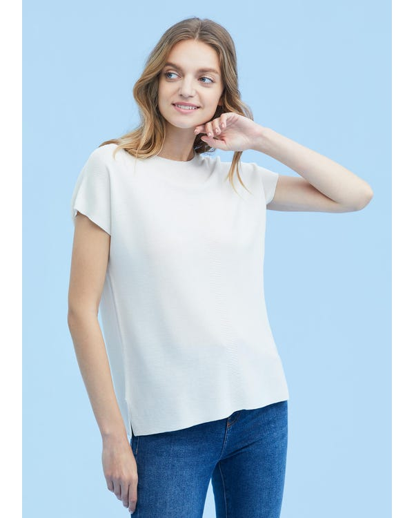 Breathable Round Neck Silk Knitted Tee