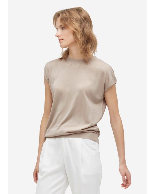 Fashionable Round Neck Silk Knitted T Shirt Greige M