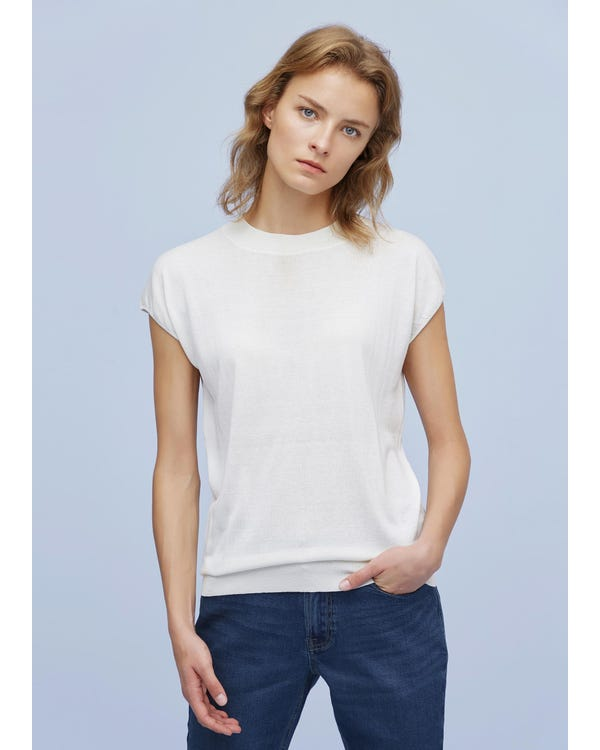 Fashionable Round Neck Silk Knitted T Shirt White S