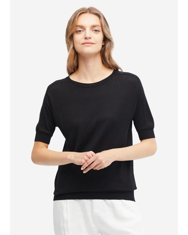 Hyggelig Rund Hals Silkestrikket T-shirt