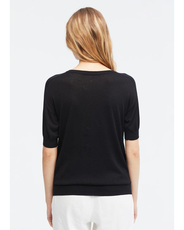 Cosy Round Neck Silk Knit T-Shirt