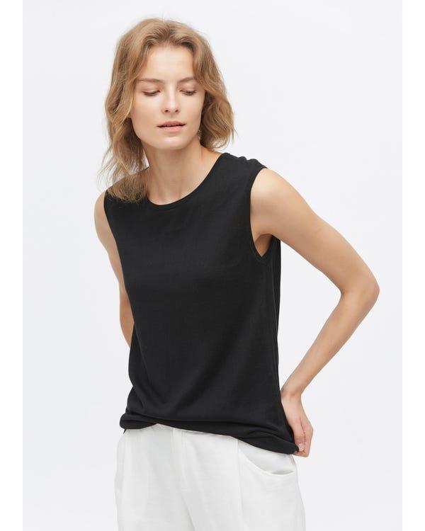 Stylish Sleeveless Silk kniteed Tee Black S-hover